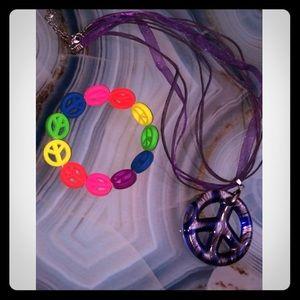 Colorful Glass Blown Peace Sign Necklace Bracelet